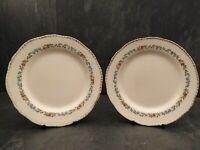 "Dessert Plates X2 Pink Roses & Blue Flowers On White Body Pattern 302 Ridgway 7"""