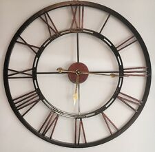 X Large Cut out Skeleton Black Copper Iron Metal Numeral Wall Clock Kitchen