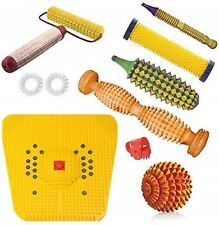 Acs Wooden Foot Roller Acupressure Mat Magnetic Stress Kit 8 Pcs