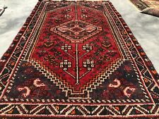 Authentic Hand Knotted Vintage Shrz Wool Area Rug 4.1 x 2.5 Ft (8252 Bn)