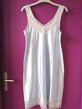 Nuisette combinaison fond de robe vintage année 70 nylon satin bleu taille 42