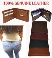 100% Genuine Leather Bifold Mens Wallet Purse Business Credit Card Holder