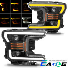 [LED Sequential Signal]For 2018 2019 Ford F150 Black DRL Projector Headlights