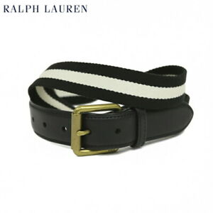 Polo Ralph Lauren Cotton Belt with leather - Black w/ white -