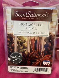 ScentSationals NO PLACE LIKE HOME Cinnamon Clove Wax Bar Cube XL 5 Oz For Warmer
