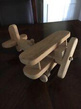 Vintage Wooden Toy Bi Plane Airplane Folk Art Model Tail Dragger