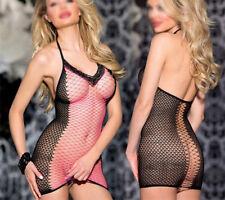 RED Sexy-Women's-Lingerie-Fishnet-Body stockings-Dress-Sleepwear-Club-Babydoll
