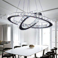 Modern LED Crystal Chandeliers Two Rings Pendant Lamp Round Ceiling Light