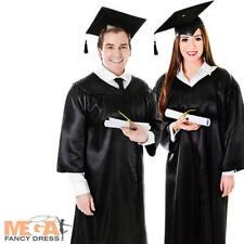 Graduation Robe + Mortor Board Cap Hat Fancy Dress Mens Ladies Uniform Costume