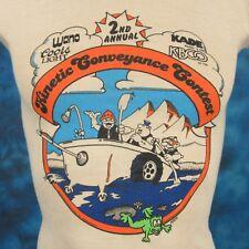 NOS vintage 80s COORS BEER KBCO COLORADO KINETIC CARTOON PAPER THIN T-Shirt XXXS