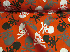 3 Metres Red with Black Pirate Skull & Crossbones Printed Polycotton Fabric