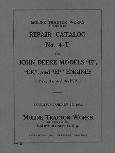 John Deere Model E, EK, EP  Repair Catalog NO. 4-T