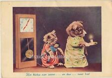 Print. 1940s. Amsterdam. Dog & Cat Going To Bed - Clock