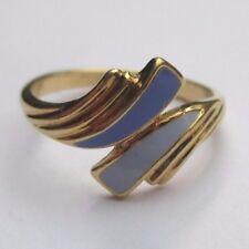 élégante bague bijou vintage couleur or émail bleu clair et foncé Taille 55