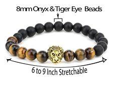 Natural Onyx Gemstone & Tiger's Eye Bead Golden Lion Face Stretchable Bracelet