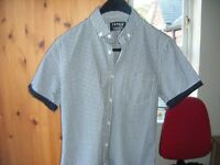 Topman slimfit black and white shirt short sleeved small chest 36-38 ins