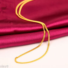 Hot Solid Pure 999 24K Yellow Gold Chain Women Curb Link Necklace 16inch