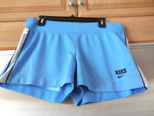 Nike Sport Shorts Ladies M ( 8 -10) Blue & Silver Striped Perforated Polyester