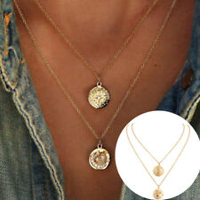 Women Fashion Stars Moon Coin Pendant Double Layers Chain Necklace Jewelry  Li