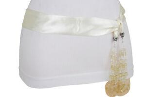 Women Cream Off White Tie Silk Fabric Sash Belt High Waist Hip Tassel Beads XS S