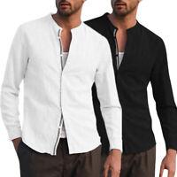 Vintage Men's Linen Long Sleeve Henley Shirts Loose Fit Casual Dress Top T Shirt