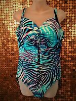 Miracle Suit One Piece Swim Suit Blue Palm Adj Straps Sz 16