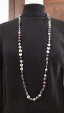 Sautoir vintage perles verre rose, plastique cognac et grises, métal argenté