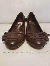 Nine West Brown Leather Kitten Heel  Pumps Casual Shoes Size UK4/ EUR37/ US6W