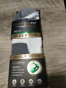 New COPPER FIT Pro Men's Walking Ankle Socks 2 Pair Shoe Size 6-12 White/Gray