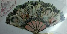 VICTORIAN FAN, PAPER REPRODUCTION, GALLERY GRAPHICS, 1991 Die Cut Gold Tassel