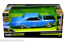 "MAISTO 1966 CHEVROLET CHEVELLE SS 396 BLUE ""CLASSIC MUSCLE"" 1/24 CAR 31333"