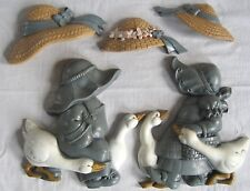 Vintage Wall Art Geese Girls Hats Burwood Set Lot Country Decor 1980s