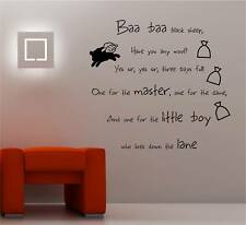 Baa Baa Black Sheep Nurserie Art Mural Autocollant Vinyle Enfants