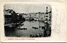 1904 Venezia - Ponte di Rialto e Fondamenta, gondole Castiglion - FP B/N VG