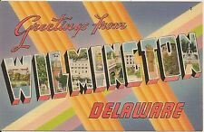 Greetings From Wilmington De Large Letter Linen Postcard
