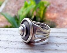 Modernist Solitaire Pearl Sterling Silver Round Artisan handmade Size 7 Ring