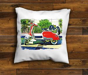 Vintage Red Retro Scooter Lambretta Design Cushion Cover Handmade