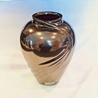Vintage Haeger Pottery Metallic Bronze Art Deco Style Ceramic Vase Art Pottery