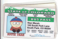 STAN of SOUTH PARK novelty plastic collectors card Drivers License