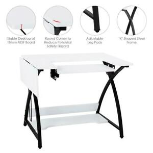 Folding Sewing Table Multifunctional Sewing Machine Cart Table w/Storage Shelves