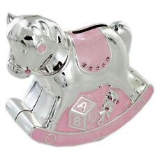 SILVER PLATED PINK ROCKING HORSE SHAPE MONEY BOX