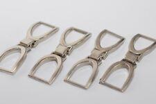 4x Zierteil Zierschnalle Metall Trachten Applikation 14 mm Breite, Silber