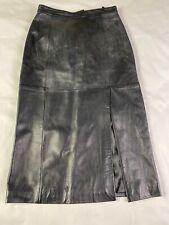 Giorgio Collection 100% genuine Black leather maxi Long skirt women 14
