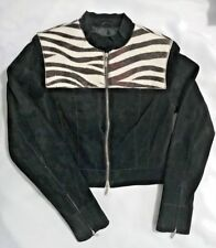 BEBE Womens Black Suede Leather Zip Up Jacket-Size Sm-Lined-Zip Sleeves-EUC