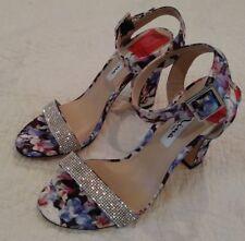 NWT Nina Solange Multi Florita Floral Heels Sandals Shoes RHINESTONES Womens 7 M