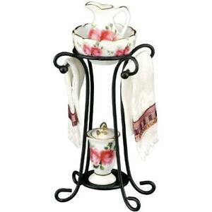 Dollhouse Country Rose Wash Stand Set 1.749/6 Reutter Wrought Iron Miniature