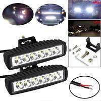 Pair 18W  6 led Work Lights CREE Spot Flood LED Light Bar Reverse 4WD 12V 24V
