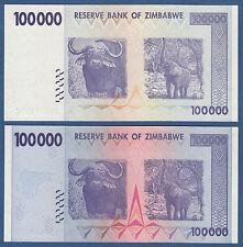 ZIMBABWE 100.000 Error + Regular consecutive UNC P. 75