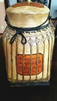 Vintage Table Lamp Thai Rice Basket Asian Wicker Rattan Jar Lamp