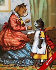 VICTORIAN DRESSED MOTHER & DAUGHTER CATS PET ART PAINTING REAL CANVAS PRINT